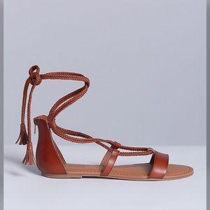 Lane Bryant lace up strappy sandals Sz 7W